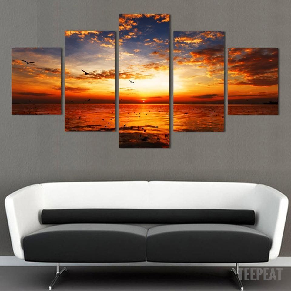 Sunset Beautiful Painting Canvas 100/% cotton wall home Decor high quality Canvas
