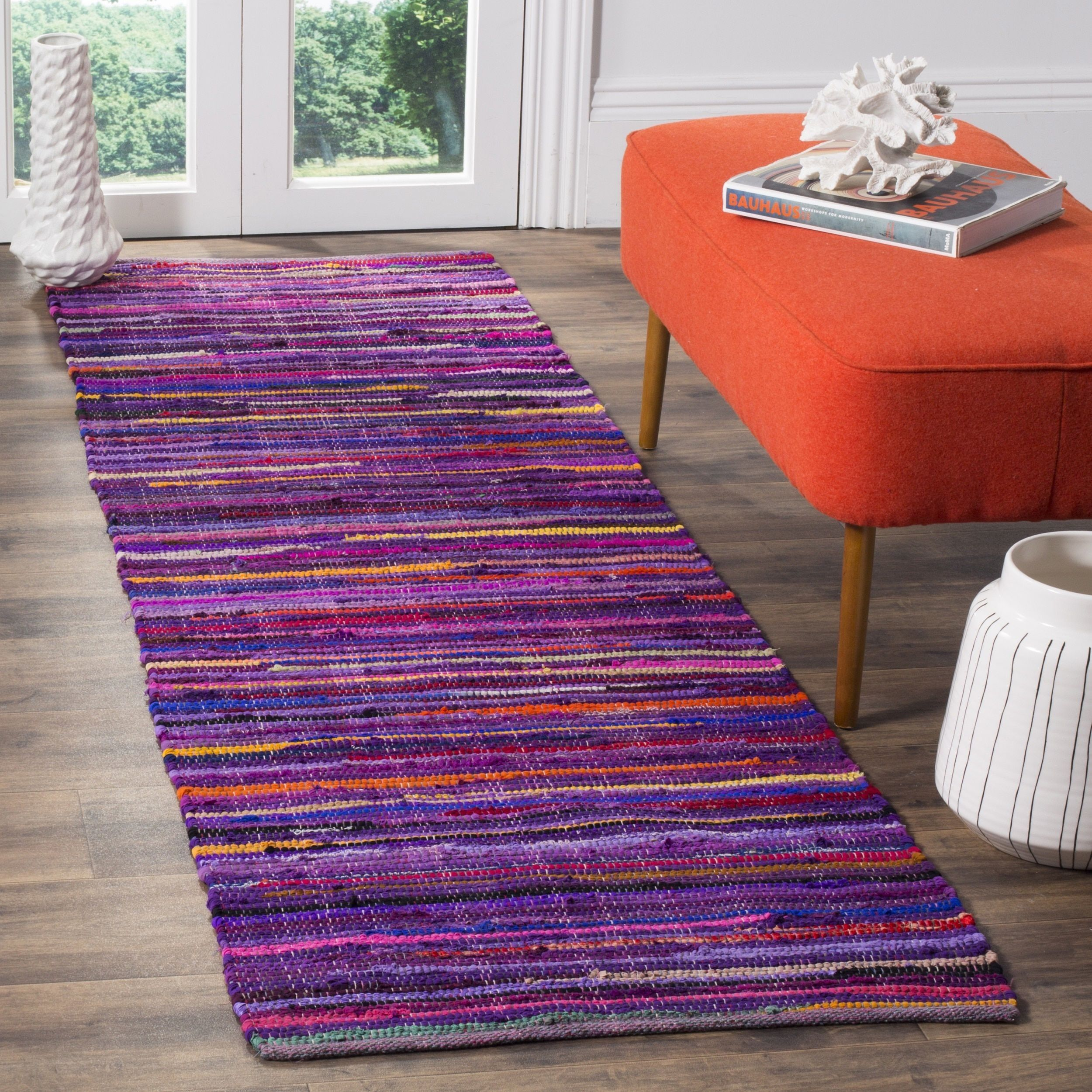 Safavieh Rag Cotton Runner Bohemian Handmade Purple/ Multi Cotton Runner (2' 3 x 8') (RAR240C-28), Size 2' x 8'