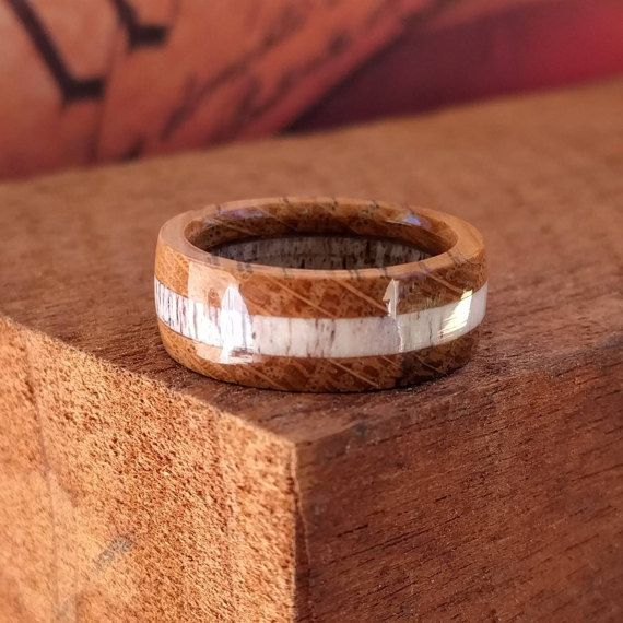 Elk Antler Ring Wooden Ring Whiskey Barrel Ring Wooden Rings