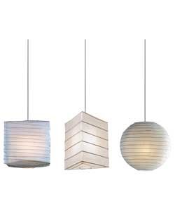 Home Set Of 3 Shades Cream Lighting Lamp Paper