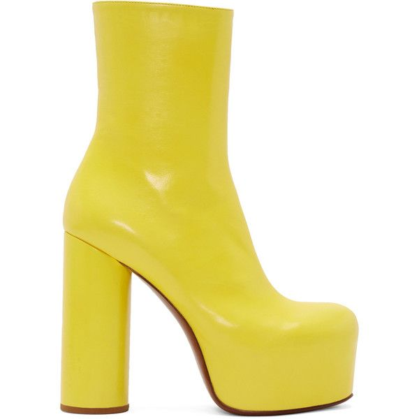 Vetements Yellow Leather Chunky Boots ($1,765) ❤ liked on Polyvore featuring shoes, boots, yellow, block heel boots, genuine leather boots, chunky-heel boots, leather boots and platform boots