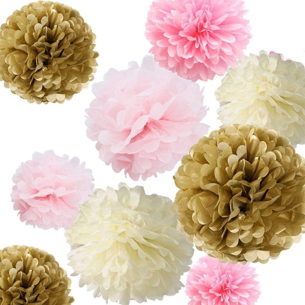 Baby shower wedding buy tissue paper poms tissue paper pom pom kit - Fonder Mols 12pcs Mixed Sizes 8 10 14 Tissue Pom Baby Shower