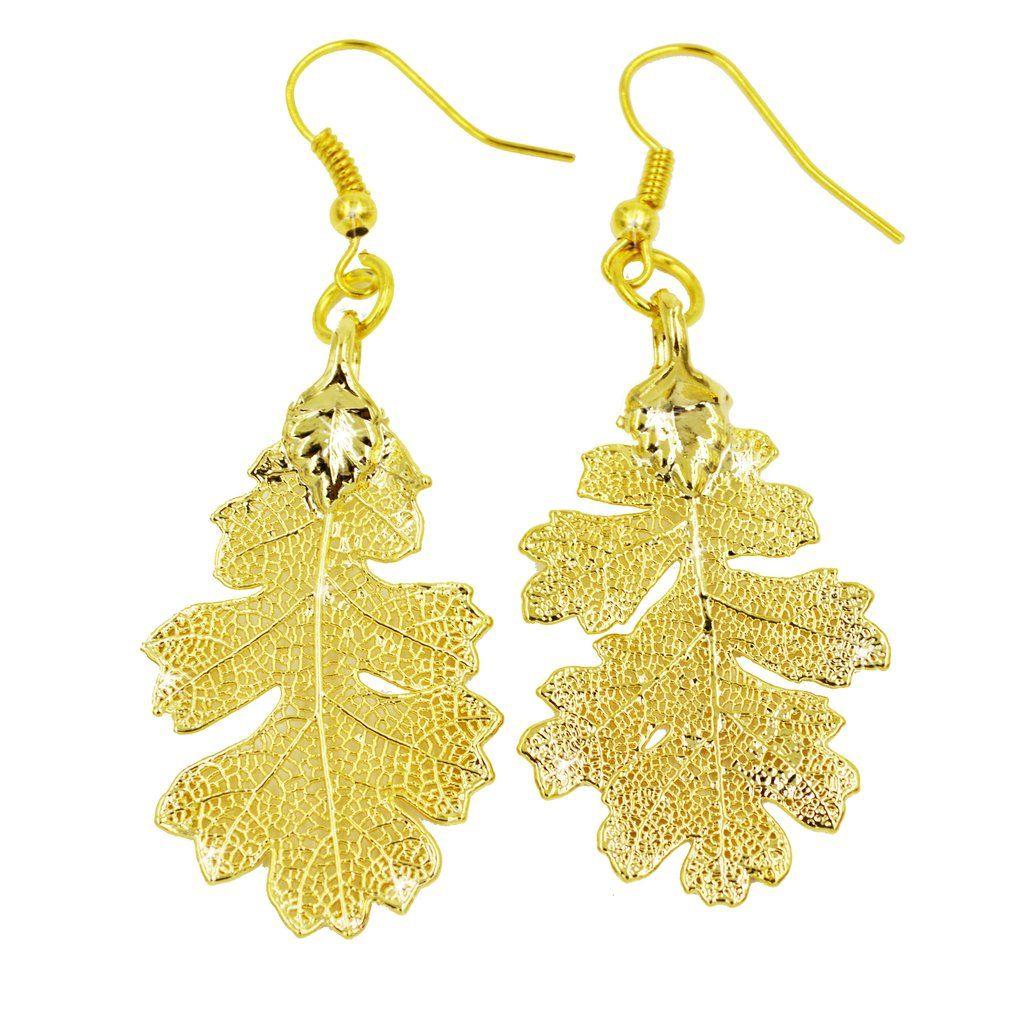 Real Leaf Hook Drop EARRINGS Lacey OAK in 24K Yellow Gold Genuine