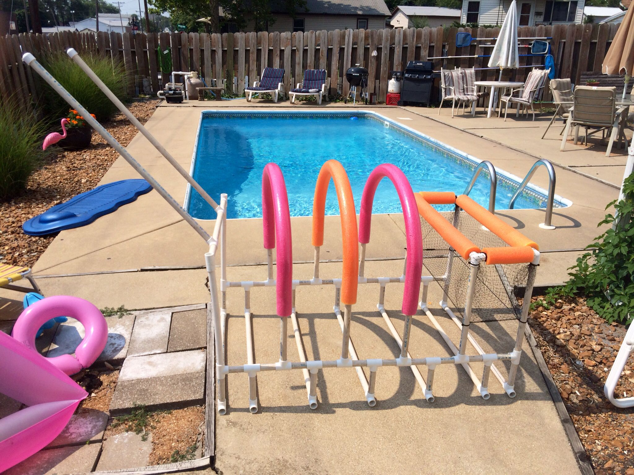Nailed It Poolside Storage For Rafts Toys Goggles Tubes And Noodles Total Cost Was Less Than 40 Could Probably Pvc Pool Pool Float Storage Pool Towels
