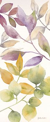 RB9489CC<br> Watercolor Leaves Panel I <br> 8x20