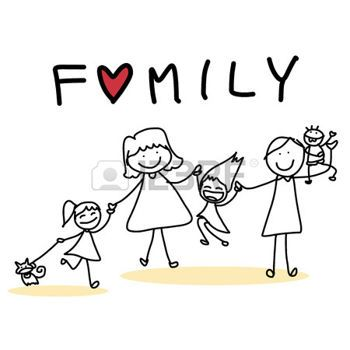 Handzeichnung Zeichentrickfigur gl�ckliche Familie photo