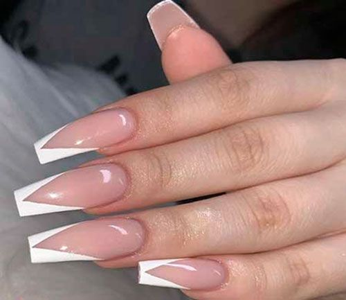 Triangle Nail Art in 2020 | French acrylic nails, Triangle ...