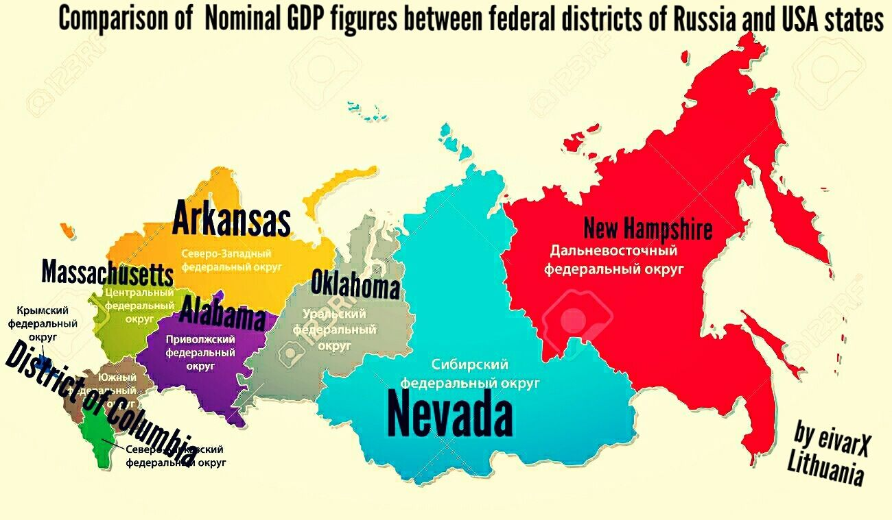 Comparison of Nominal GDP figures between federal districs of Russia ...