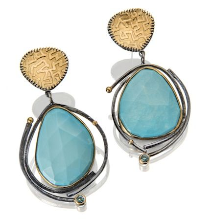 Sydney Lynch earrings - Faceted turquoise, tourmaline, 22k gold and oxidized silver.