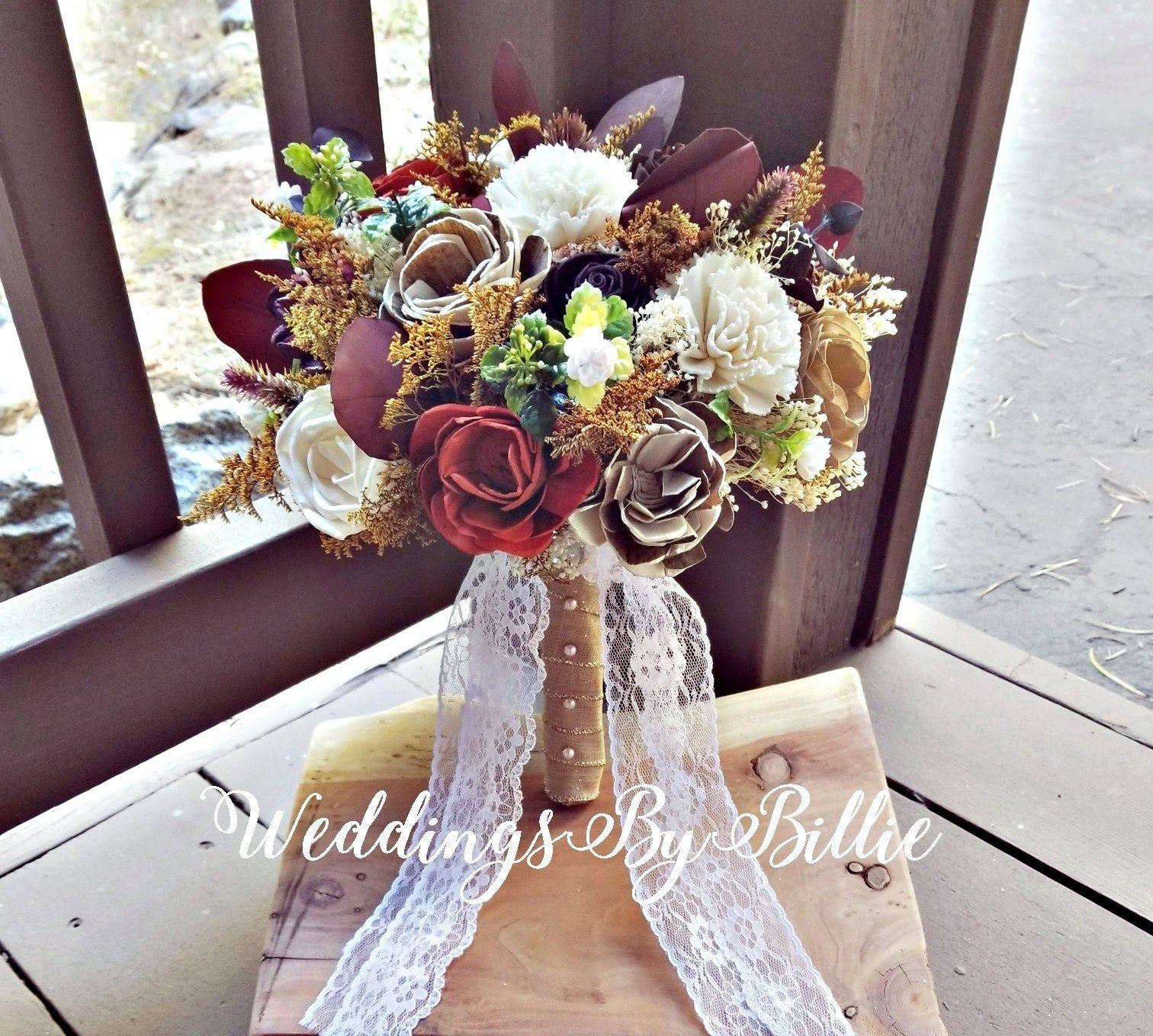Burlap Lace,Sola Bouquet,Alternative Bouquet,Rustic Shabby Chic Fall Bouquet Keepsake Bouquet Ivory Cranberry Pinecone Bouquet Bride