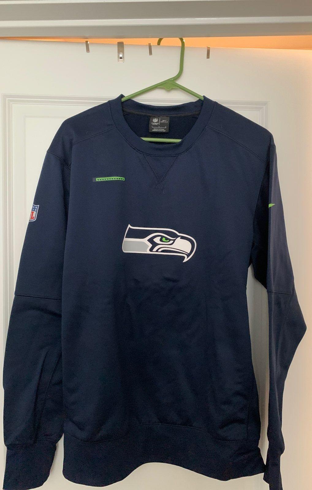 Nike Seattle Seahawks Poly Fleece Crew Neck Sweatshirt Size L Long Sleeve Tshirt Men Crew Neck Sweatshirt Mens Tops [ 1600 x 1018 Pixel ]