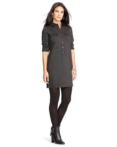 Ponte Long-Sleeved Shirtdress - Lauren Short Dresses - RalphLauren.com
