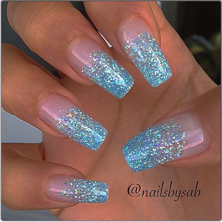 Blue Glitter Tapered Square Tip Long Nails Nail Nailart