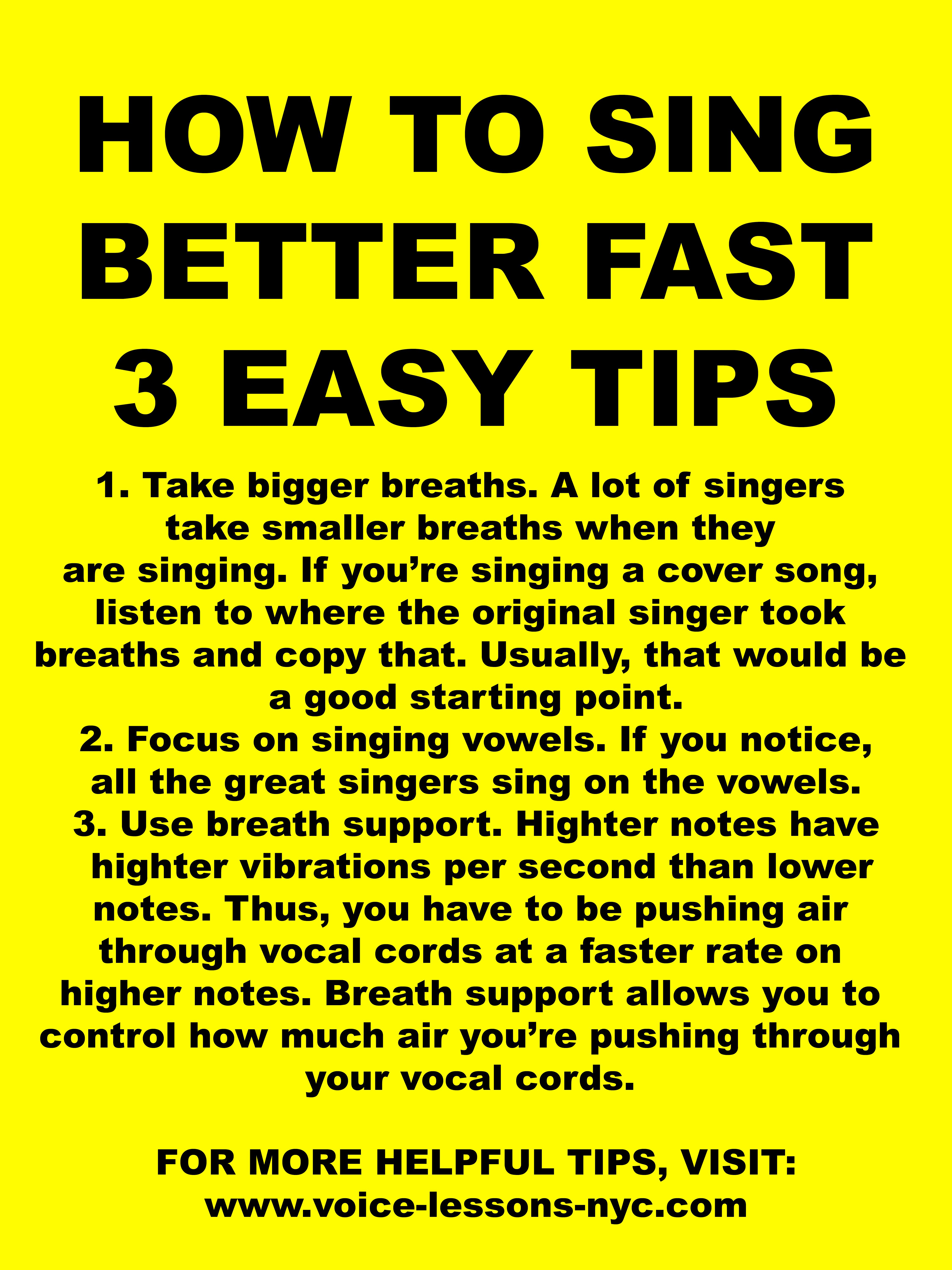 How To Sing Better Fast These 3 Easy Singing Tips Will Help You Improve Your Singing Ability Quickly And Often Learn Singing Singing Techniques Singing Tips