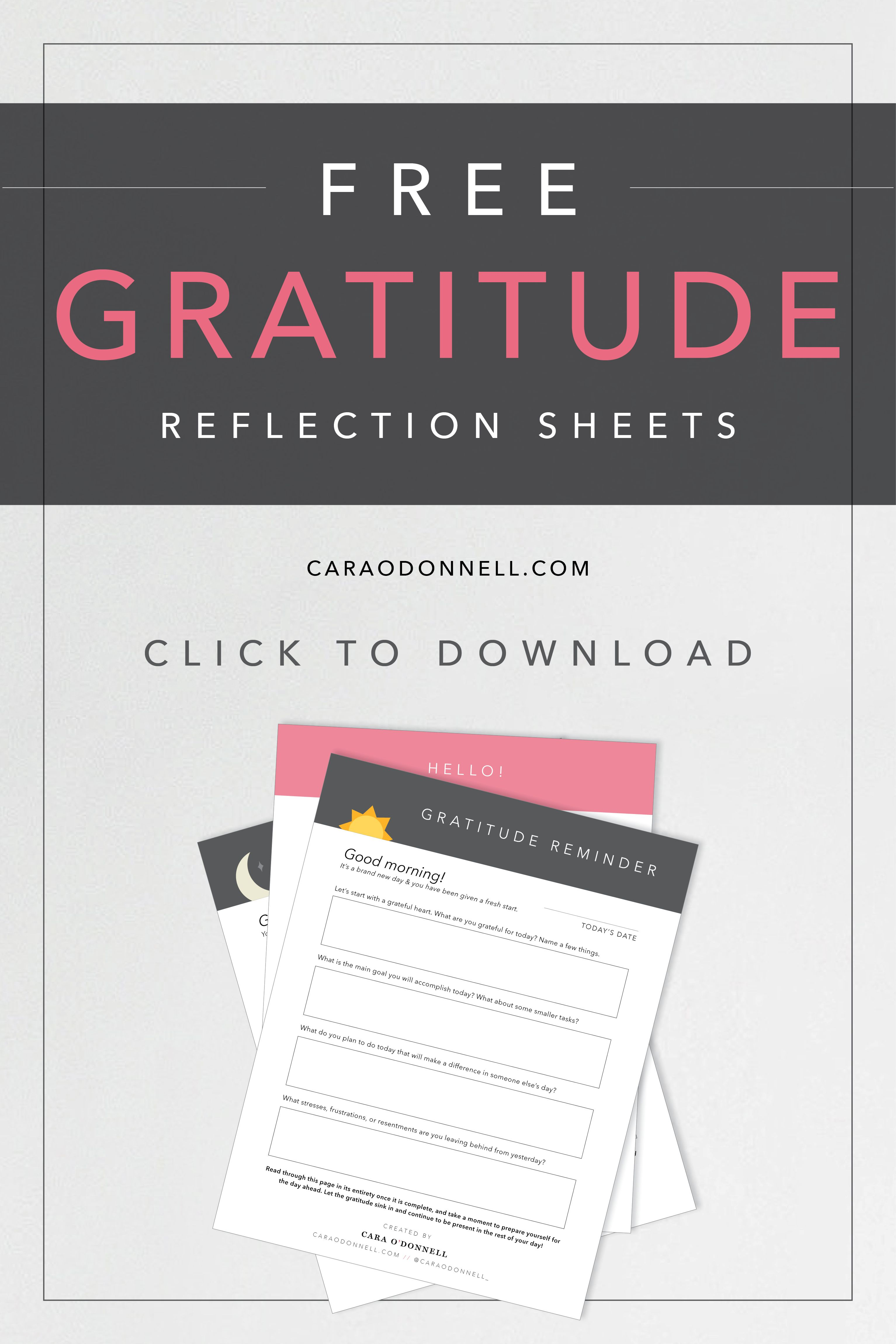 Free Gratitude Reflection Sheets Gratitude Reflection