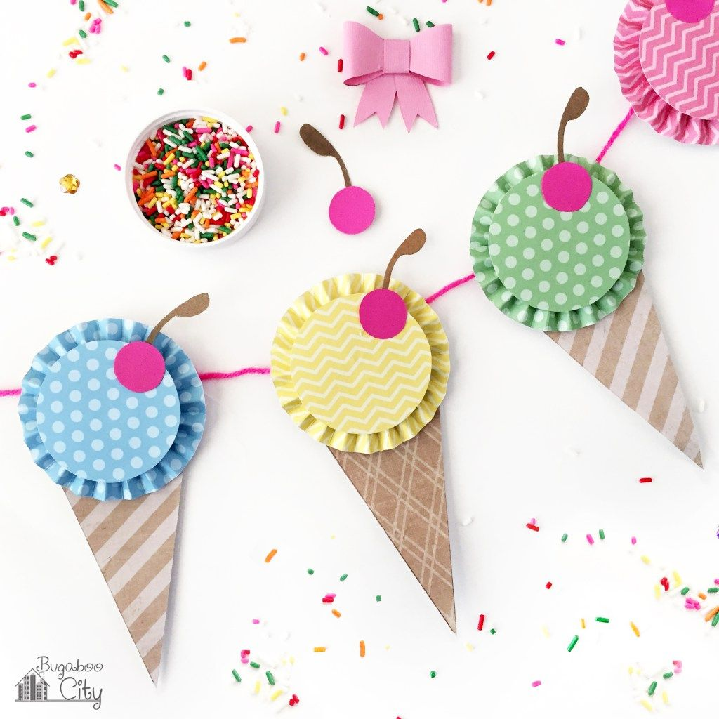 Vector bunting flags lovely celebration card with colorful paper - Paper Ice Cream Banner