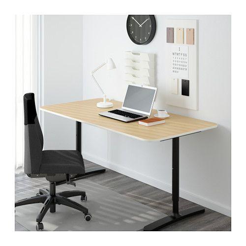 Bekant Oak Veneer Black Desk 160x80 Cm Ikea Ikea Bekant Ikea Bekant Desk Home Office Furniture
