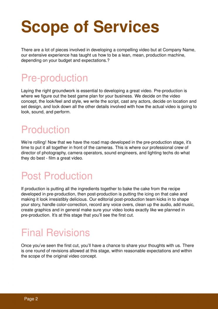 Video Shoot Proposal Template Business Proposal Template Proposal Templates Business Proposal Video production proposal template