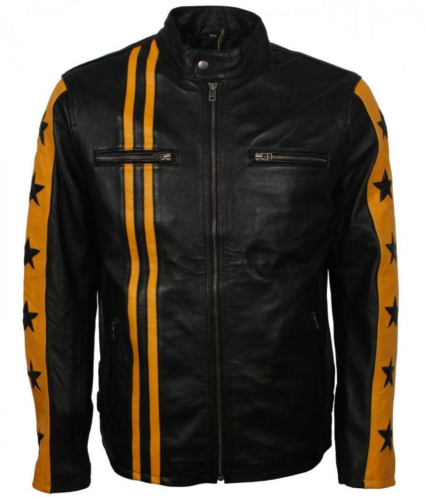 Black Yellow Star Stripes Leather Jacket Us Leather Mart Striped Leather Jacket Leather Jacket Genuine Leather Jackets [ 1024 x 877 Pixel ]