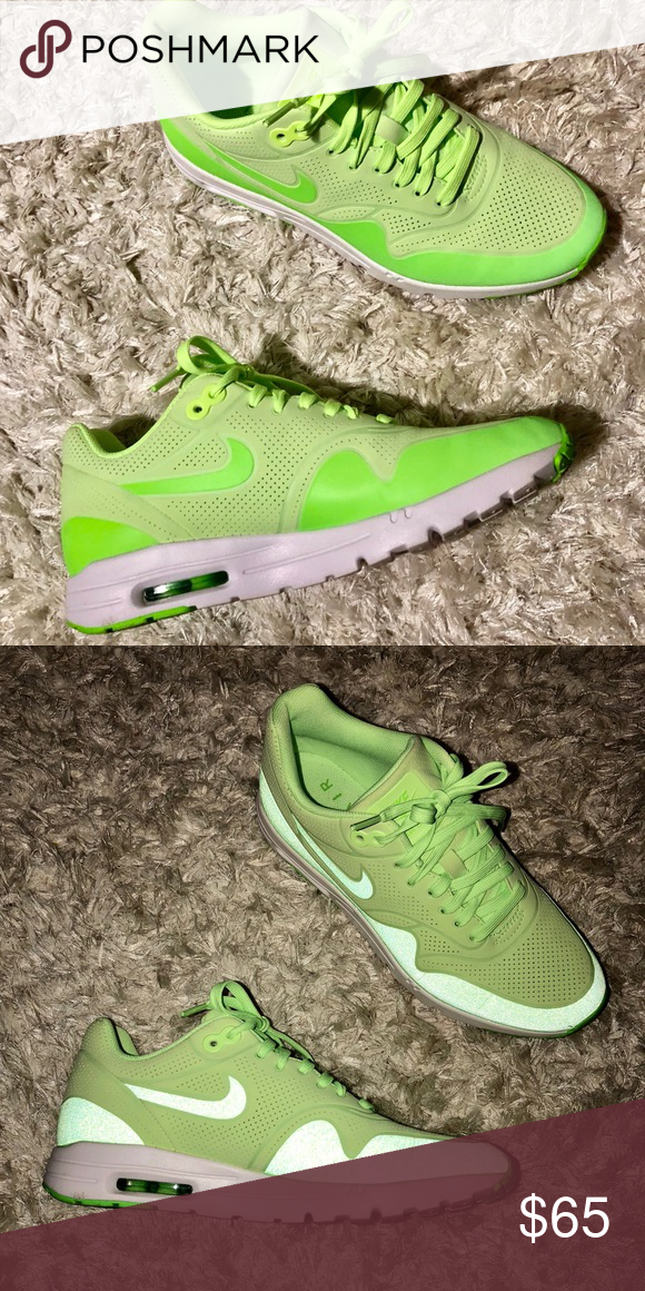the best attitude 9809b 20428 Lime Green Air Max 1 Ultra Moire Women s 8 Worn only twice! In near perfect  condition. Glows with a flash photo. Women s size 8. I ship fast!
