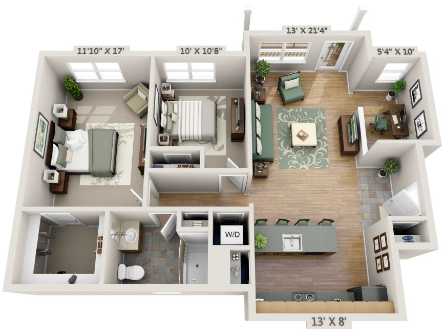 3d 2 bedroom apartment floor plans yahoo image search - Architectural plan of two bedroom flat with dining room ...