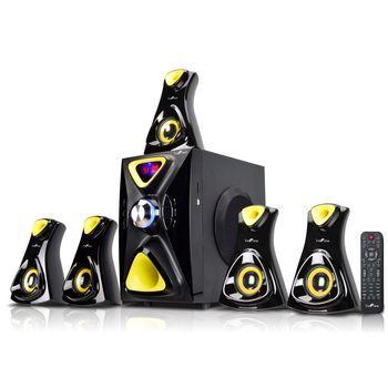 beFree Sound 5.1 Channel Surround Sound Bluetooth Speaker System- Yellow