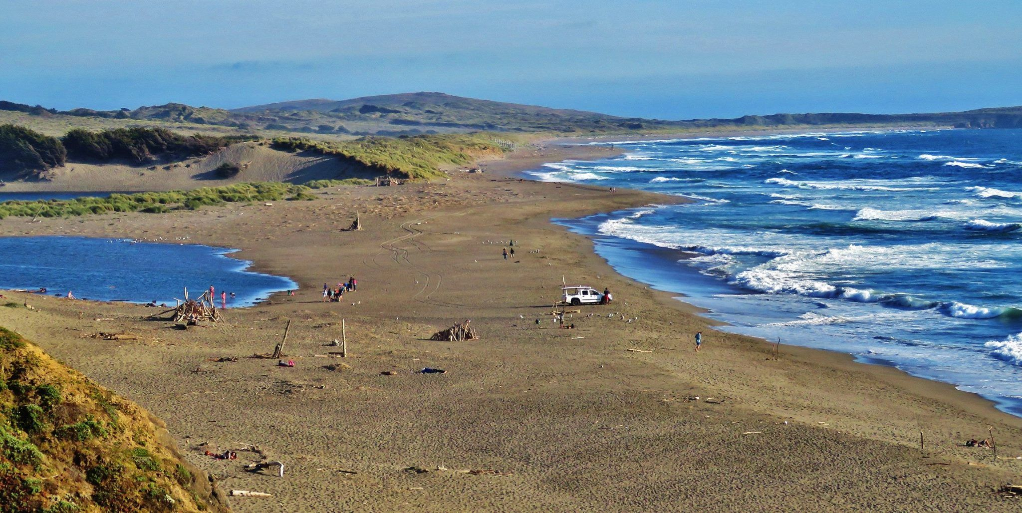 The mouth of Salmon Creek, Ca.  This is one of my favorite beaches.  Today this beach was on Shark Watch.  The Great Whites are swimming closer to the Sonoma Coast beaches today.  6-9-16  JM.