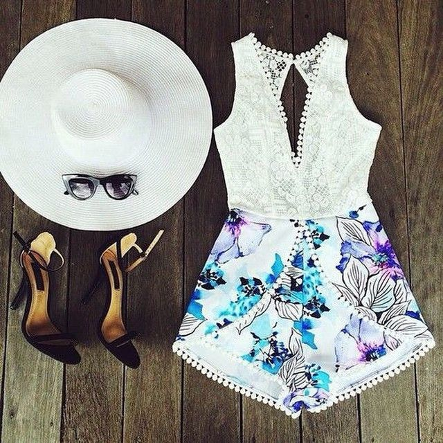 Sexy Lace Print Jumpsuit Rompers