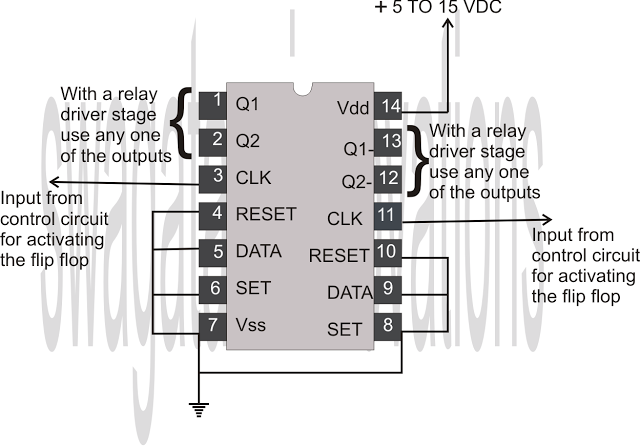 Flip Flop Using IC 4013 | timers | Circuit projects, Circuit