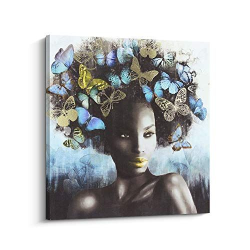 Desk Painting Artwork for Office Black Art African American Art Black Artwork Black Owned Shop Shelf Decor Peaceful Woman Painting