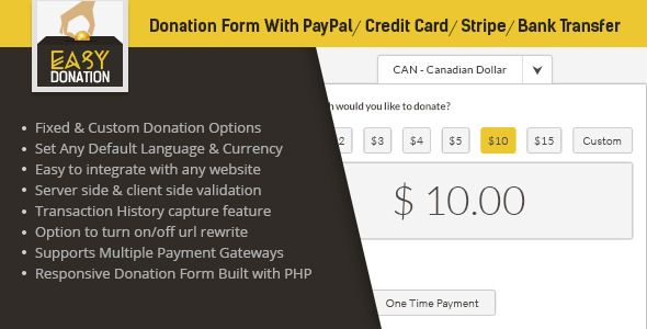 EasyDonation Form PayPal Stripe Credit Card Bank Transfer - donation sheet template