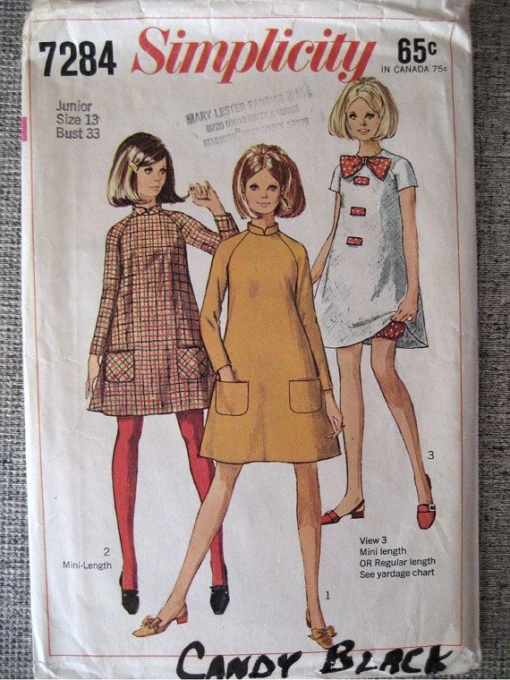 Vintage 1967 Mod Mini Tent Dress with Bloomers Simplicity 7284 13Jr ...