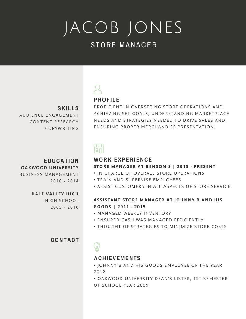 A sample of a premium resume done for one of our clients