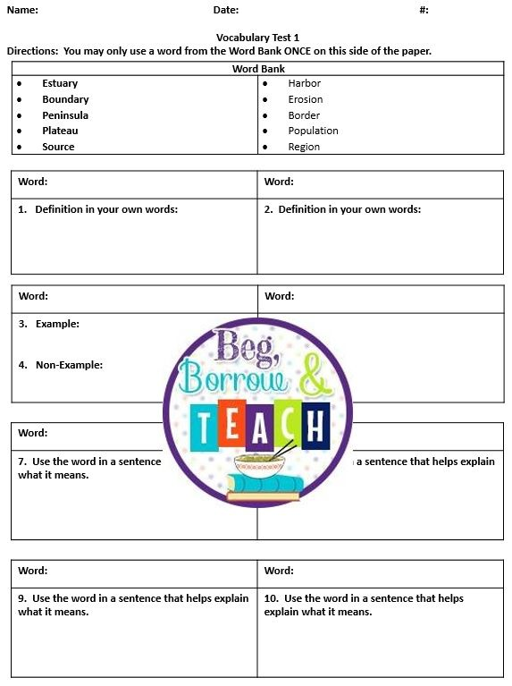 Beg, Borrow, and Teach! Vocabulary Test Template Vocabulary - free test templates