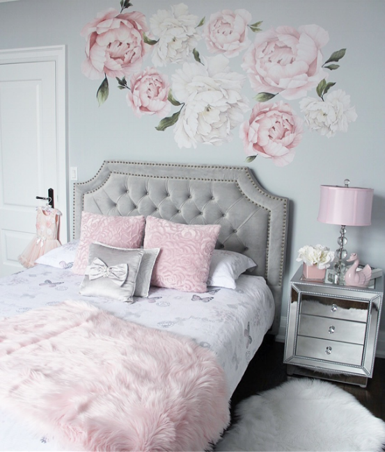 Silver And Pink Girls Room Girl Bedroom Decor Girly Bedroom Bedroom Decor