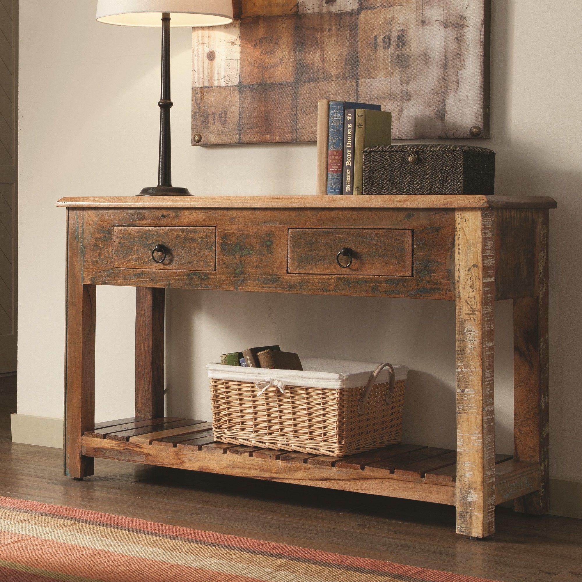Katrina Reclaimed Wood Console Table Rustic Console Tables Rustic Sofa Tables Wooden Console Table