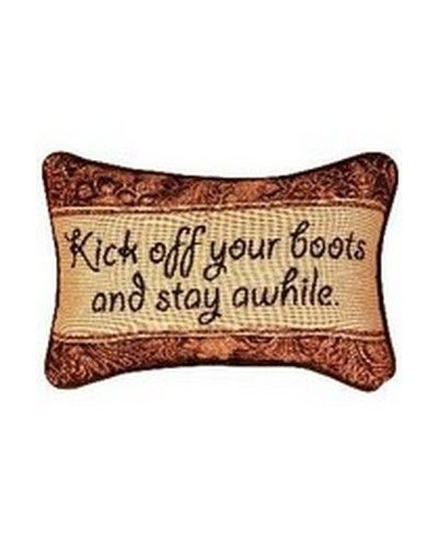 "Kick Off Your Boots Decorative Pillow. Let guests know they're welcome with this decorative pillow! Measures 12.5""x8.5""."