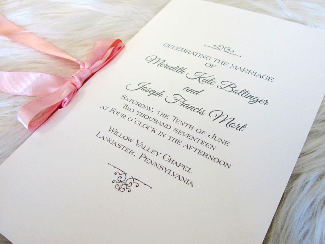When the satin ribbon makes the ceremony program perfect. Design ...