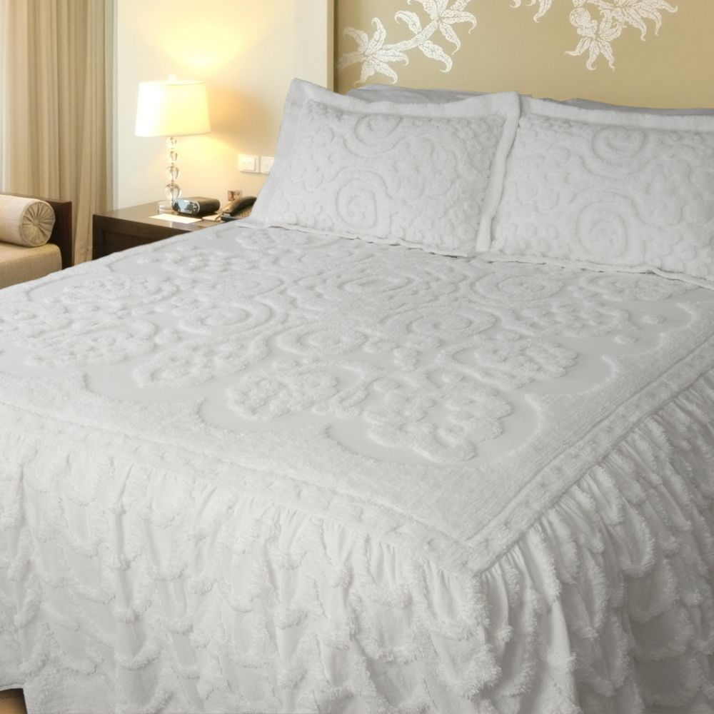 White Chenille Bedspread King Size Queen Size Bedspread Bed Spreads Luxury Bedspreads