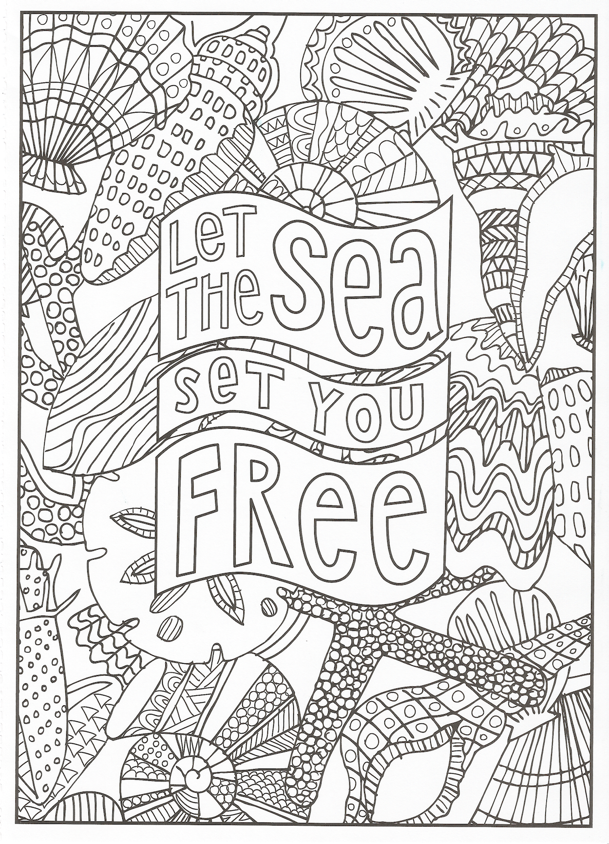 Timeless Creations Creative Quotes Coloring Page Let The Sea Set You Free Quote Coloring Pages Coloring Pages Inspirational Abstract Coloring Pages