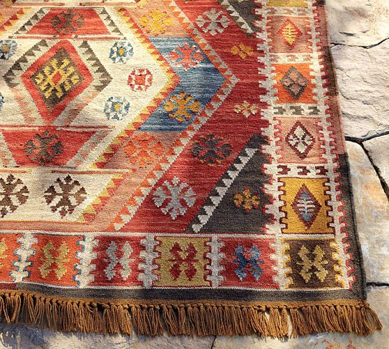 Gianna Recycled Yarn Kilim Indoor Outdoor Rug Pottery Barn For