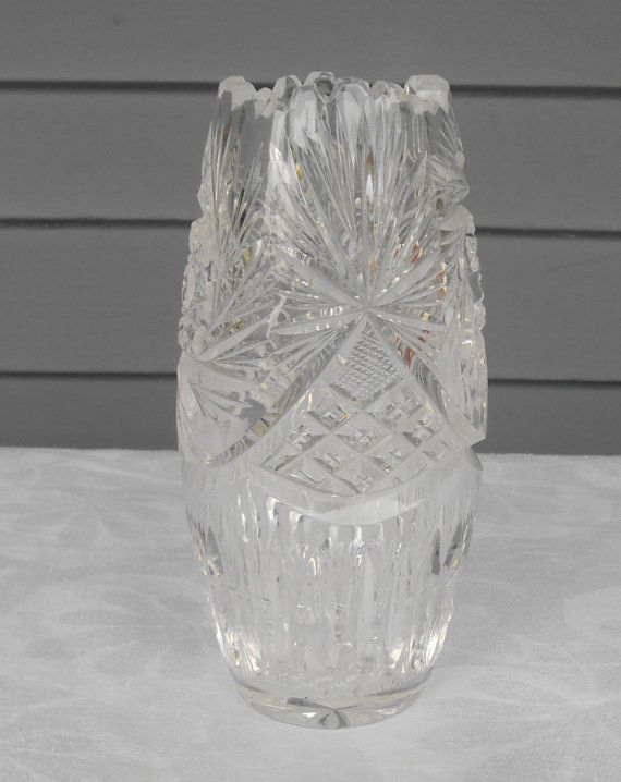 Vintage Lead Crystal Vase Pinwheel Fan By Tollethhousevintage
