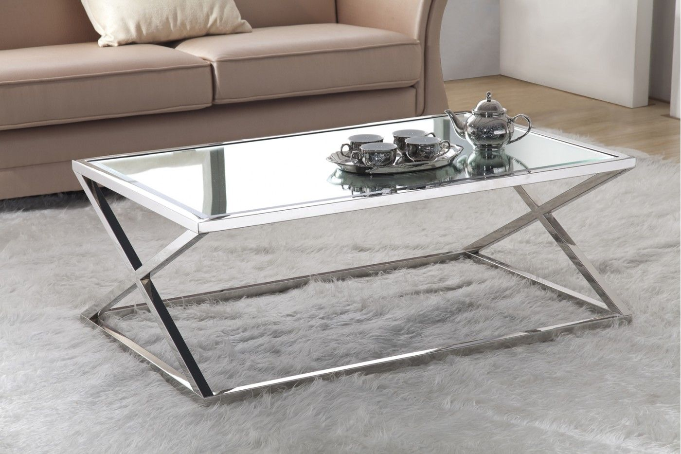 Features X Coffee Table Has A Stainless Steel Base And Isavailable With A Smoke Gl Mirrored Coffee Tables Stainless Steel Coffee Table Coffee Tables For Sale