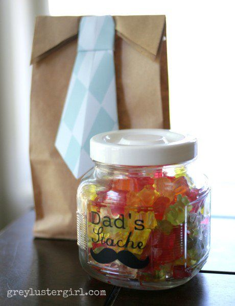 Father's day gift from kids: Dad's Stache candy jar