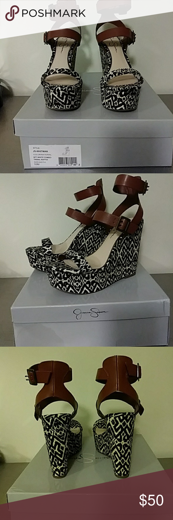 Tribal Raffia Wedge Hot shoe for the summer! Tribal print. Black and white base with brown straps. Jessica Simpson Shoes Wedges