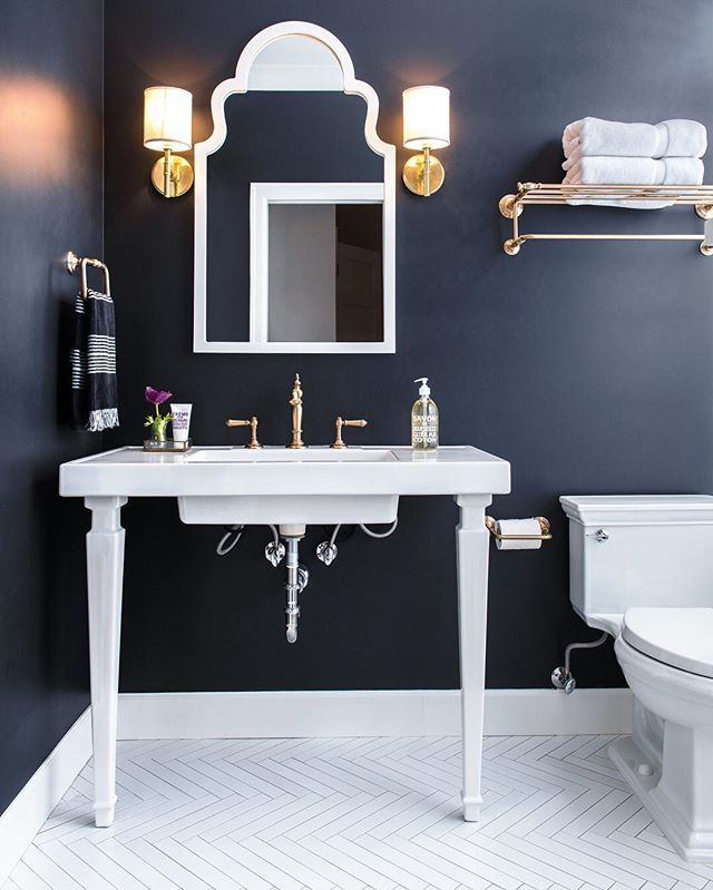 Dark powder bath. Caitlyn Wilson | Bathroom trends, Navy ...