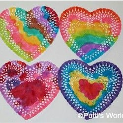 Painted Doily Hearts Valentine Crafts Valentines Art Easy