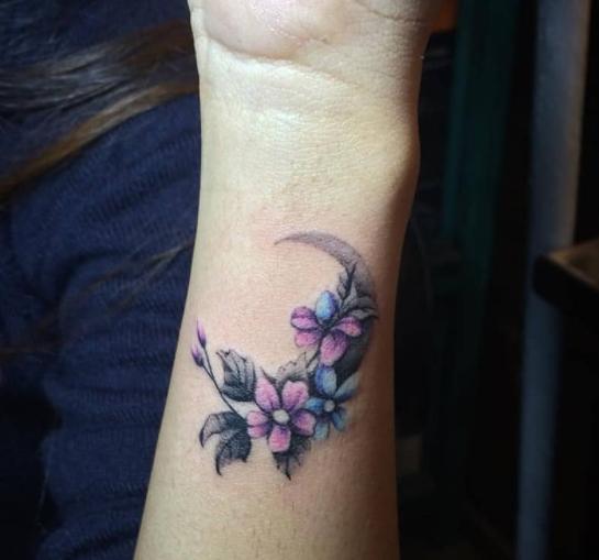 Flowered Moon Wrist Tattoos For Women Small Wrist Tattoos Tattoos For Women Flowers