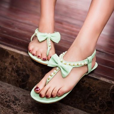 ccf600f2ad96 Comfortable Bowknot Decorated Rosary Plus Size Sandals Women s Summer Shoes  - Thumbnail 1