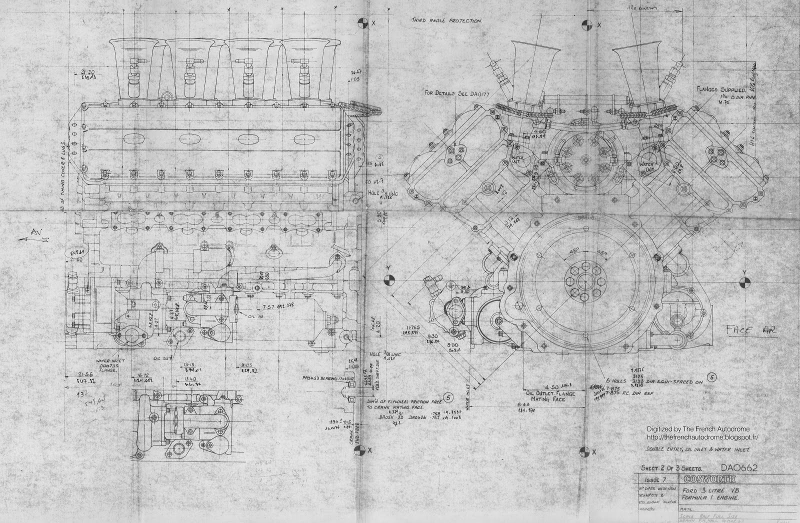 Drawing Of The Ford Cosworth Dfv V8 Formula 1 Engine Appeared In